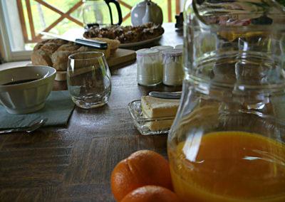 Table d'hôtes produits frais petit dejeuner